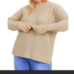 Tan Lightweight Ribbed Knit Slouchy Style Sweater